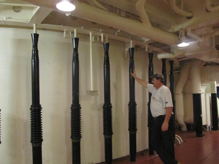 Spare 40mm gun barrels (he's 6'4)